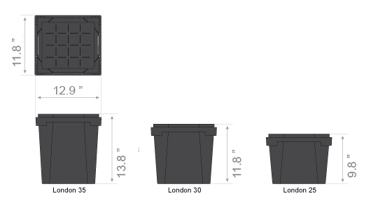 Procona London container dimensions inches